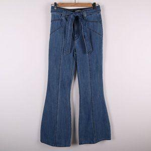 EXPRESS Bell Flare Super High Rise Waist Tie Jeans